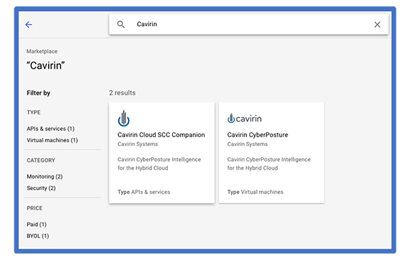 Cavirin Cloud SCC Companion in the Google Marketplace